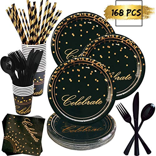 168 Piece Black and Gold Party Supplies Set | Disposable Dinnerware Set Services 24 | Includes Plastic Knives Spoons Forks Paper Plates Napkins Cups Straws | Birthday Graduation Retirement New Years
