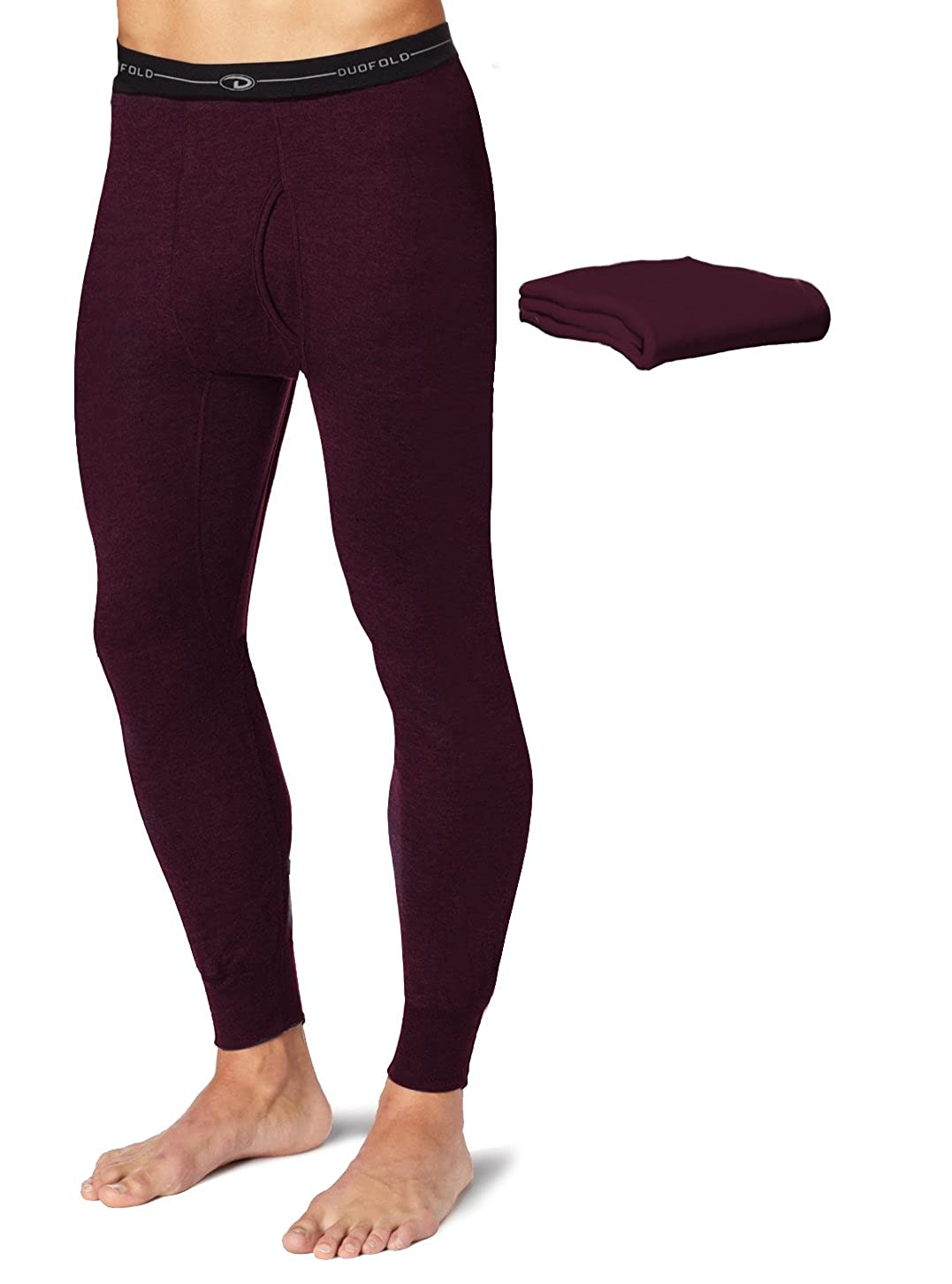 Duofold KMW2 Mens Mid Weight Wicking Thermal Pant Bordeaux Red Pack of 2