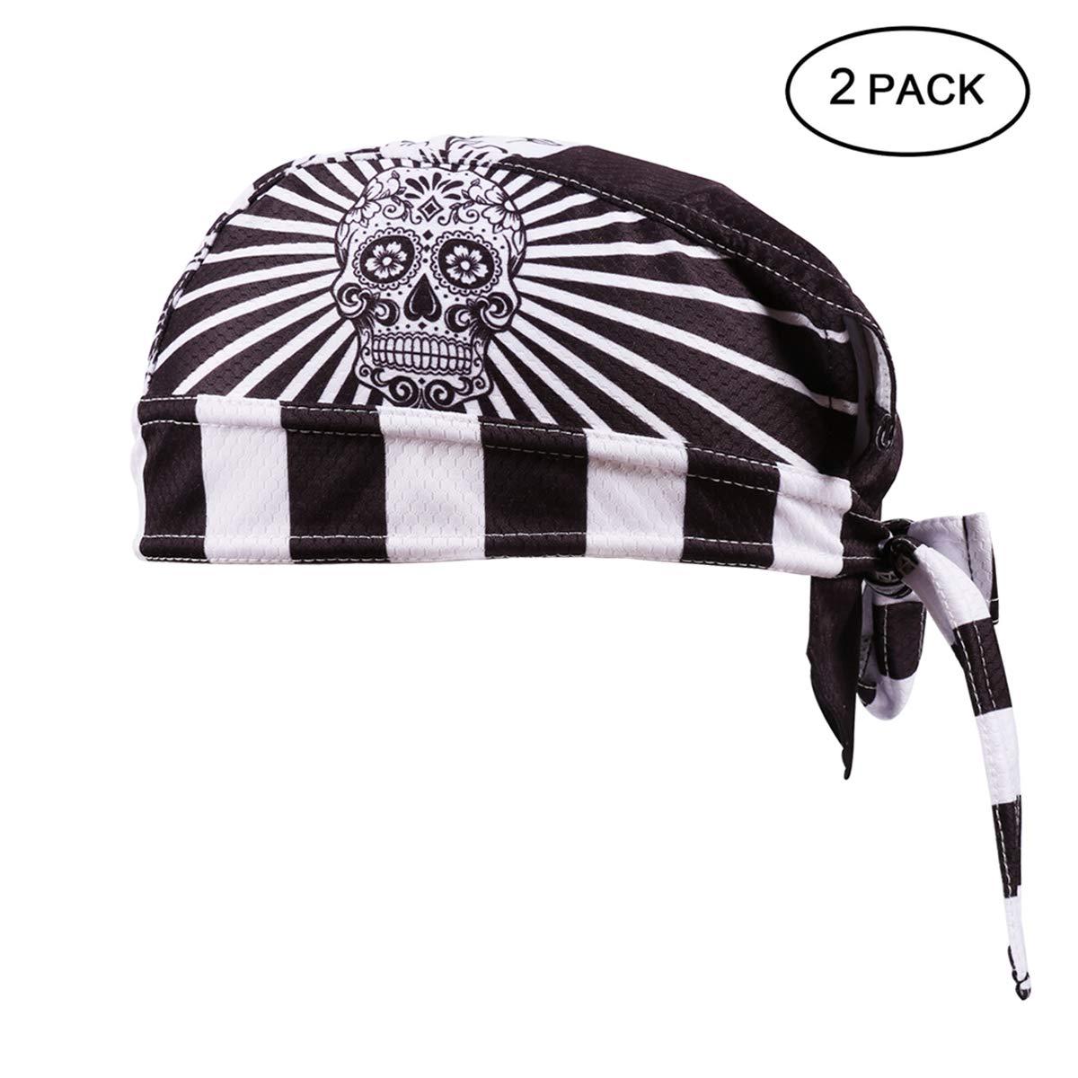 Feilaxleer 2 Sombreros de Ciclismo de Secado Rápido,Pañuelo Cabeza Bufanda Pirata Gorra de Hombre
