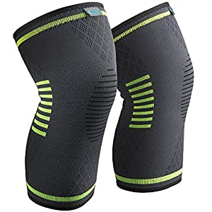 Sable Knee Brace, Compression Sleeve FDA Approved, Support for Arthritis, ACL, Running, Biking, Basketball Sports, Joint Pain Relief, Meniscus Tear, Faster Injury Recovery, Medium, 2 Piece