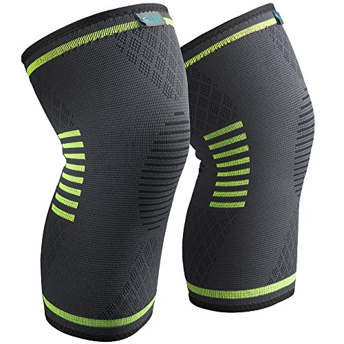 Sable Knee Brace Support Compression Sleeves for Men and Women, 1 Pair FDA Registered Wraps Pads for Arthritis, ACL, Running, Pain Relief, Injury Recovery, Basketball and More Sports (Water Knee Brace)