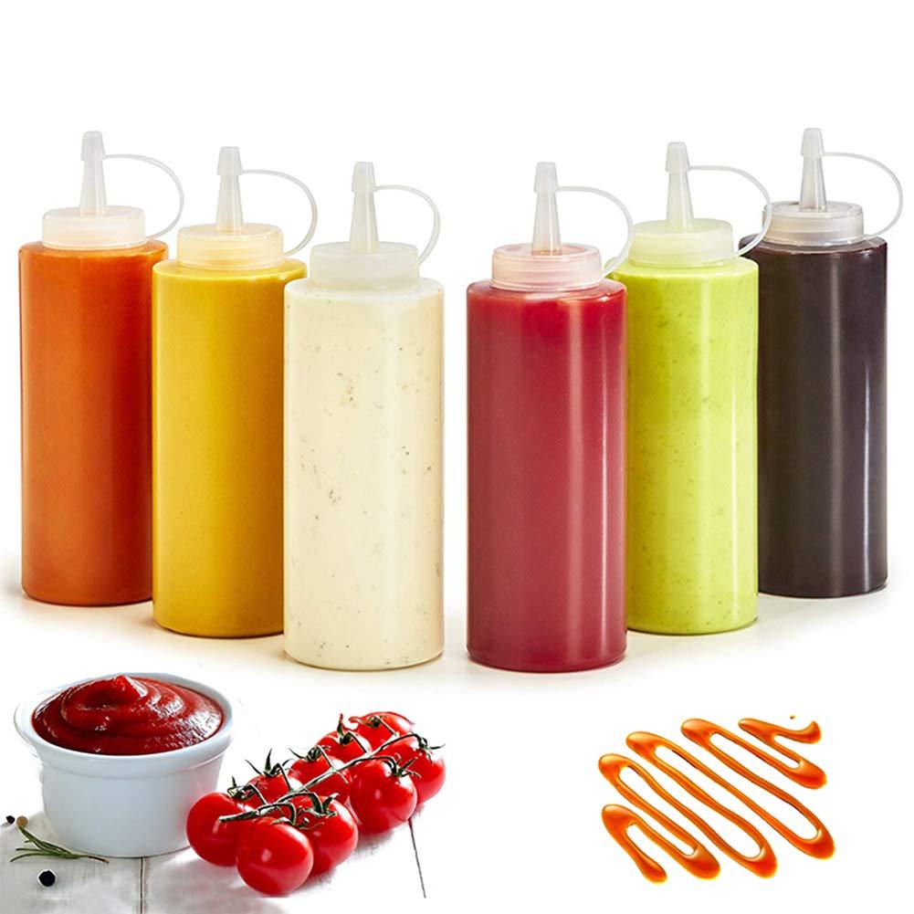sal008ly7far Salsa Ketchup Salsa Senape Bottiglia Squirt Dispenser Dispenser Utensile da Cucina Condimento in Plastica Squeeze Bottiglie Squirt per Salse con Tappo A Prova di Perdite Bianca 240ml
