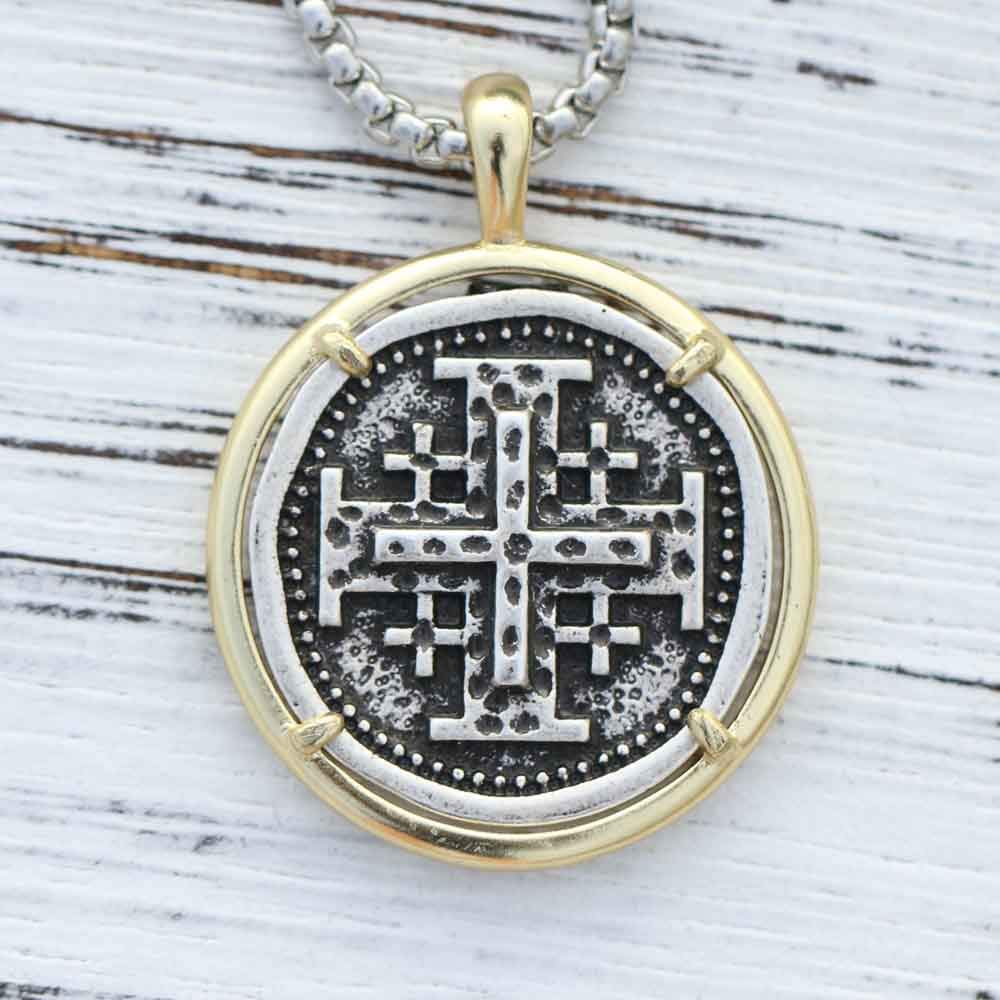 Necklace for Men Jerusalem Crusaders Cross Templar Mens Hebrew Jewelry 5 Greek Crosses Symbol of Christs Wounds Religious Pendant Necklace
