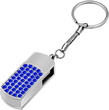 Uflatek Memory Stick 64 GB Diamond Style Flash Drive High Speed Pendrive Blue USB Stick 2.0 Rotating Thumb Drive Fold Data Storage for Computers PC and Tablet