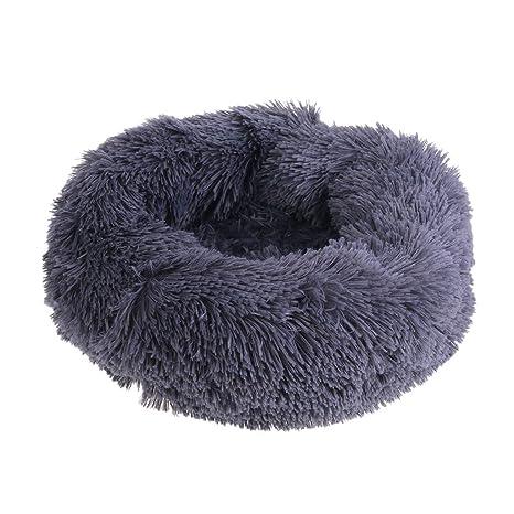 ECMQS - Cojín de peluche para perro, gato, cama redonda ...