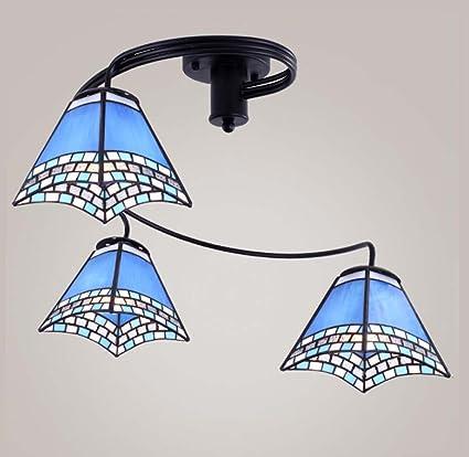 LED Tiffany Style - Lámpara de techo, estilo mediterráneo, 3 ...