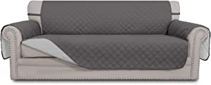 Easy-Going 4 Seater Sofa Slipcover Reversible Sofa Cover Water Resistant Couch Cover with Foam Sticks Elastic Straps Furniture Protector for PetsKidsChildrenDogCat(XX-Large,Gray/LightGray)