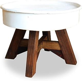 SHENGFENG tavolo da salotto bianco/marrone, Tavolino Tavolo da salotto, in acciaio con finitura + piedini in legno, fatto a mano 60x 45cm