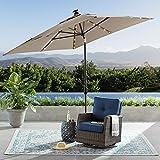 SUNBRELLA Outdoor Adjustable Tilt 8' x 10' Solar Lighted Market Umbrella (Cast Shale)