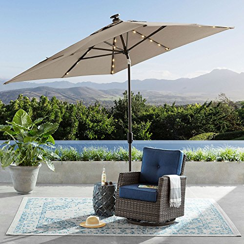SUNBRELLA Outdoor Adjustable Tilt 8' x 10' Solar Lighted Market Umbrella (Cast Shale) by RGS Sales