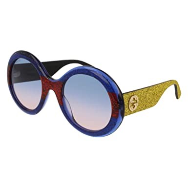 369101b71f Amazon.com  Sunglasses Gucci GG 0101 S- 005 MULTICOLOR BLUE GOLD ...
