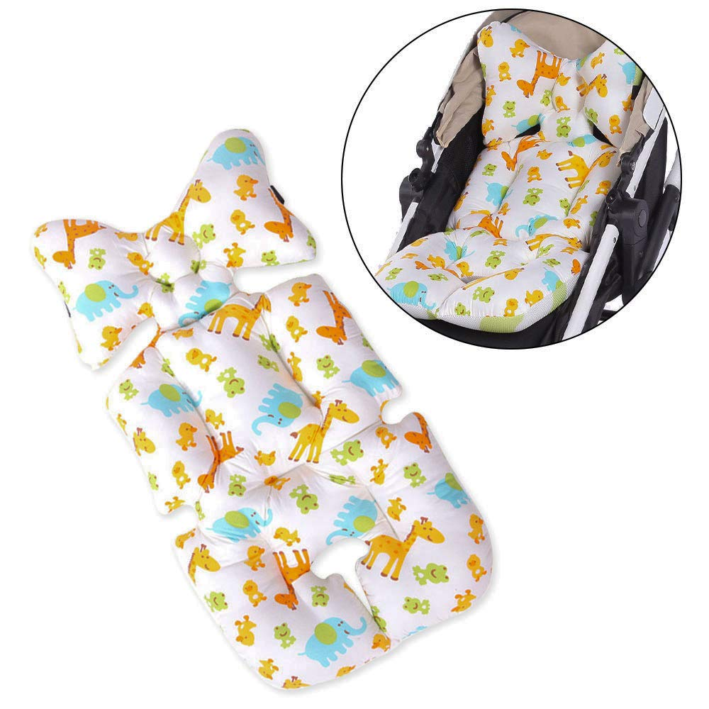 Stroller Pad,Twoworld Air Mesh Stroller Liner Head and Body Support Pillow for Stroller & Car Seat (Animal World) by Twoworld