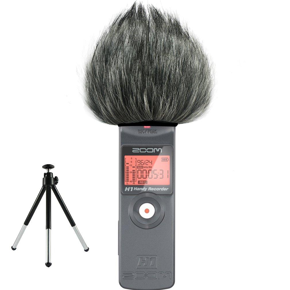 First2savvv TM-H1-E01 Outdoor Portable Digital Recorders Furry Microphone Mic Windscreen Wind Muff for Zoom H1 Recorder + mini tripod