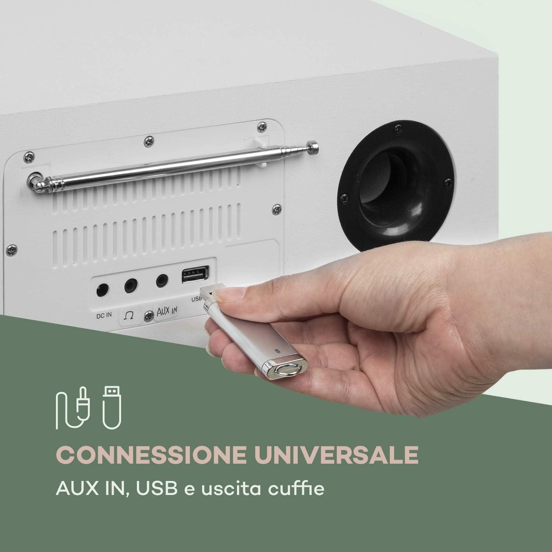 Telecomando Incluso Uscita Cuffie Radio CD Bianco 2 x 20 Watt Max USB auna Silver Star AUX-IN Alluminio Bluetooth Lettore CD con Radio FM