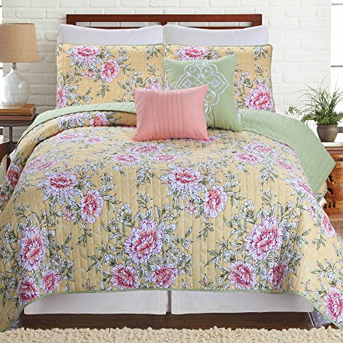 - Amrapur Overseas | Pasadena 5-Piece Microfiber Floral Quilt Set (Yellow, Queen)