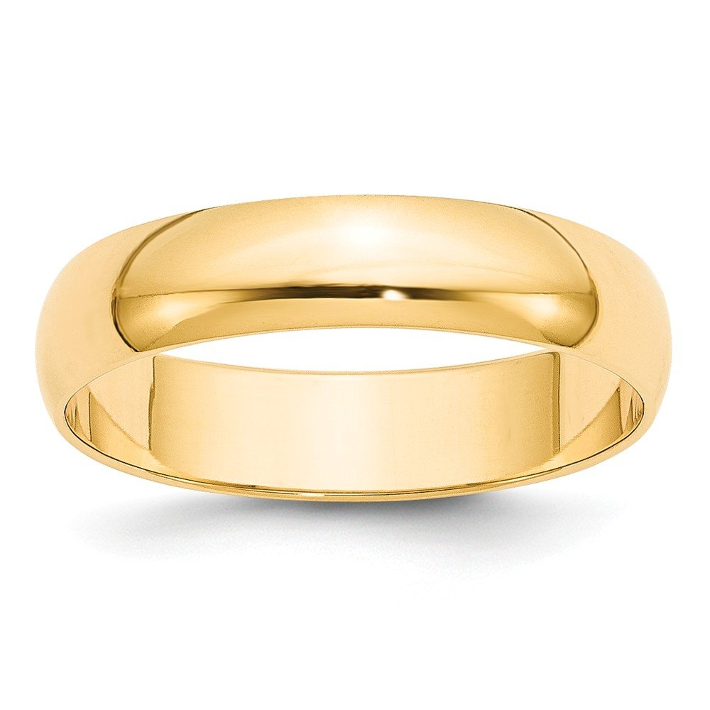 Solid 14k Yellow Gold 5 mm Rounded Wedding Band Ring