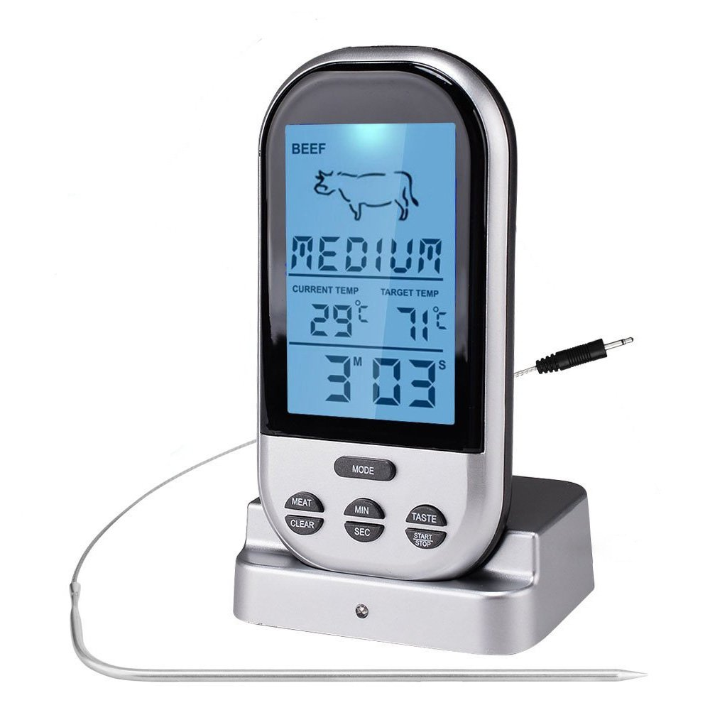 LifBetter Digital Wireless BBQ Thermometer for Food Kitchen Cooking Meat with Timer Temperature Alarm and Wide Temperature Range