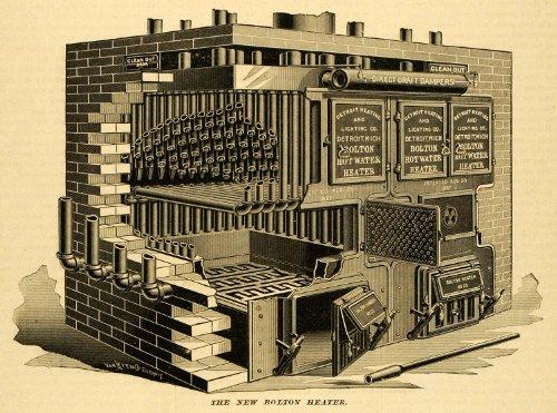 Michigan Lighting (1891 Print Bolton Hot Water Heater No. 25 Detroit Heating Lighting Co MI Antique - Original Halftone Print)