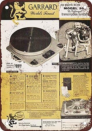 1955 Garrard 301 Tocadiscos Vintage Look reproducción Metal Tin ...