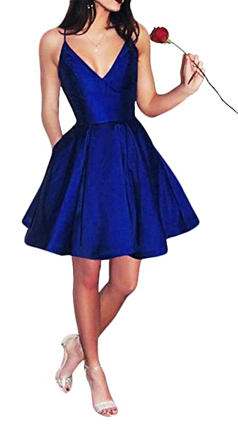 Review Yangprom Short Spaghetti Straps V-Neck A-Line Homecoming Dress with Pockets