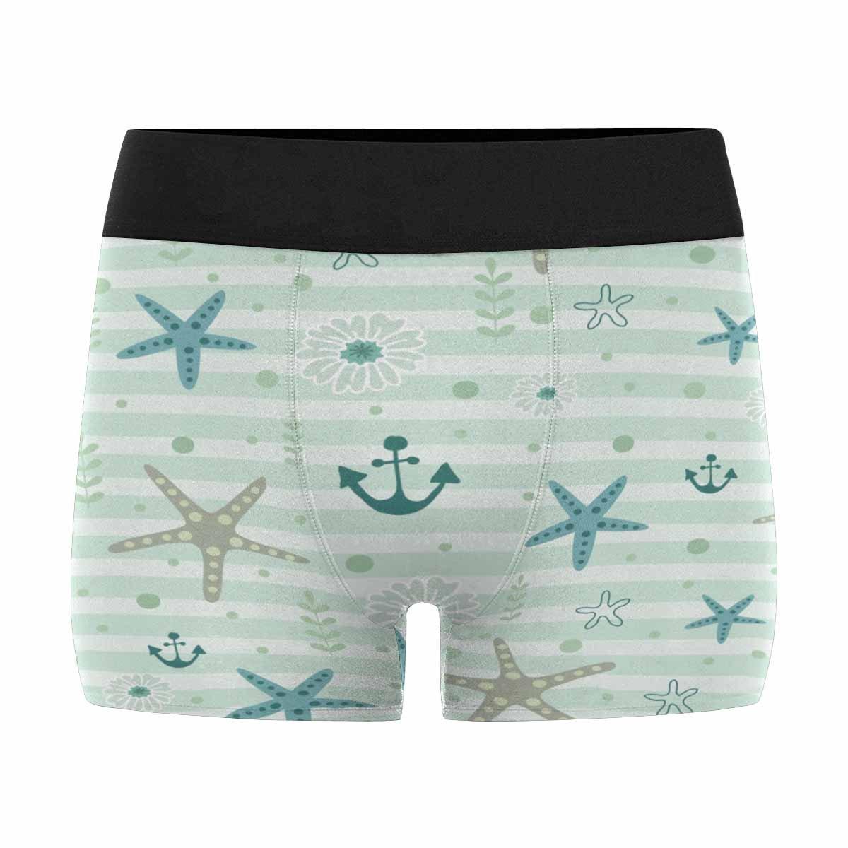 INTERESTPRINT Boxer Briefs Mens Underwear Sea Ocean All Elements are Hidden Under Mask Starfish Anchor Pattern XS-3XL
