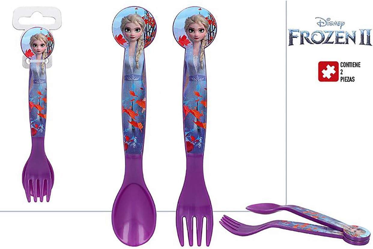 Reutilizables para Ni/ños de Frozen II Vajilla Disney 17,5x3x3 cm Hogar y Mas Cubiertos Infantiles Pl/ástico Duro