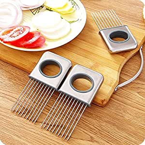 Easy Onion Holder Slicer Vegetable tools Tomato Cutter Stainless Steel Kitchen Gadgets No More Stinky Hands