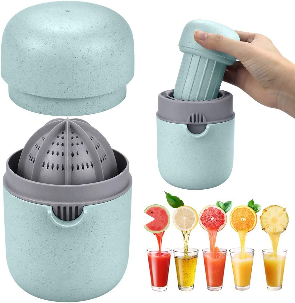 Manual Juicer Citrus Lemon Orange Hand Squeezer Hand Juicer Citrus Squeezer Manual Hand Juicer Lid Rotation Press Anti-Slip Reamer with Strainer and Container, Blue