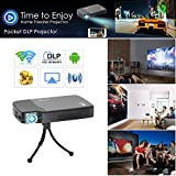 2018 Digital HD 3D Wifi Bluetooth Wireless Pocket DLP Projector Mini Pico Smart LED Video Proyector 1080P Support Airplay Miracast HDMI USB Audio Out SD for Android Smartphone Tablet iPhone Portable