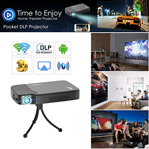 2018 Digital HD 3D Wifi Bluetooth Wireless Pocket DLP Projector Mini Pico Smart LED Video Proyector 1080P Support Airplay Miracast HDMI USB Audio Out SD for Android Smartphone Tablet iPhone Portable by EUG