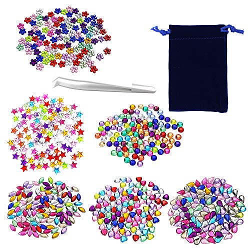 600 Pieces Gems Acrylic Craft Jewels Flatback Rhinestones Gemstone Embellishments, with Tweezers and Bag,6 Shapes (6 to 13 mm)