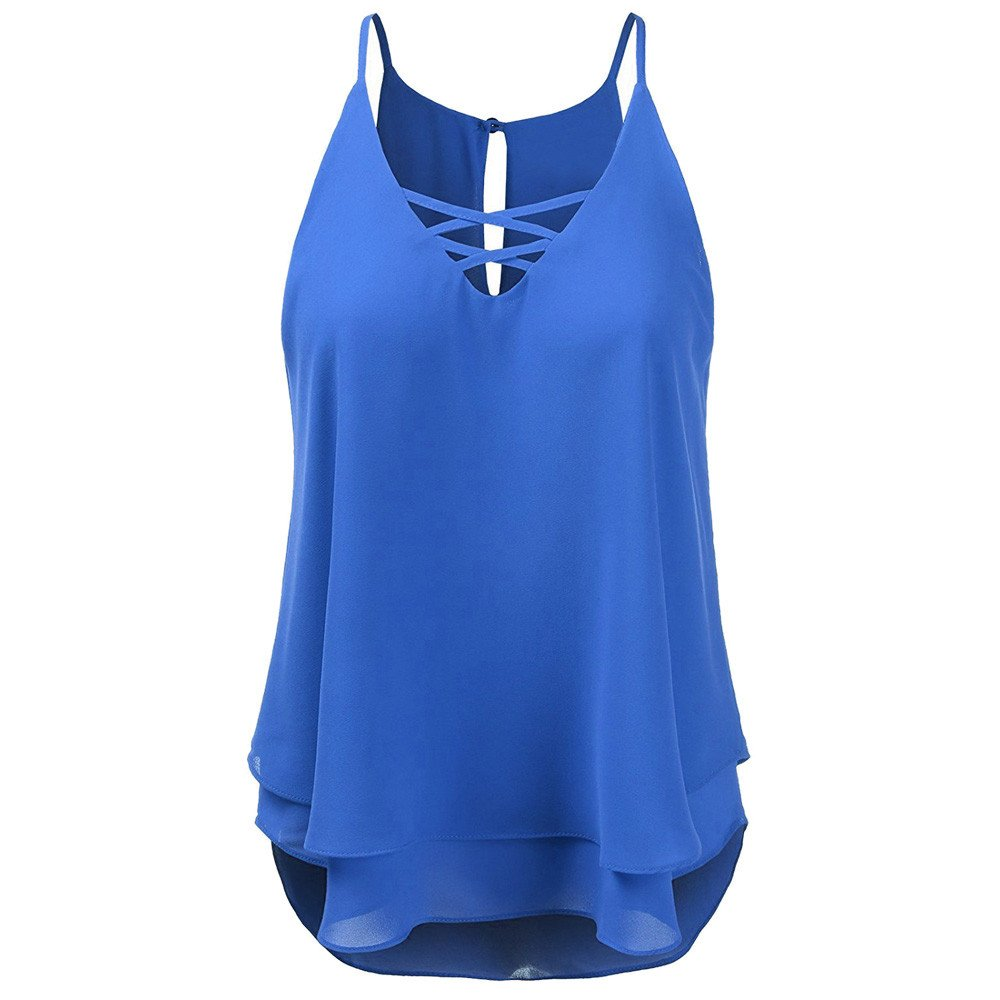 Summer T Shirts for Women,Beach Cross Vest Top Sleeveless Blouse Casual Tank Camis Loose T-Shirt Yamally Blue