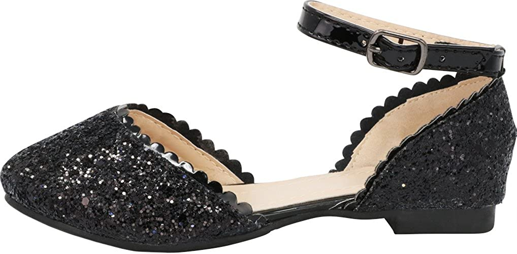 Toddler//Little Kid//Big Kid Cambridge Select Girls Closed Round Toe Buckled Ankle Strap Glitter Ballet Flat