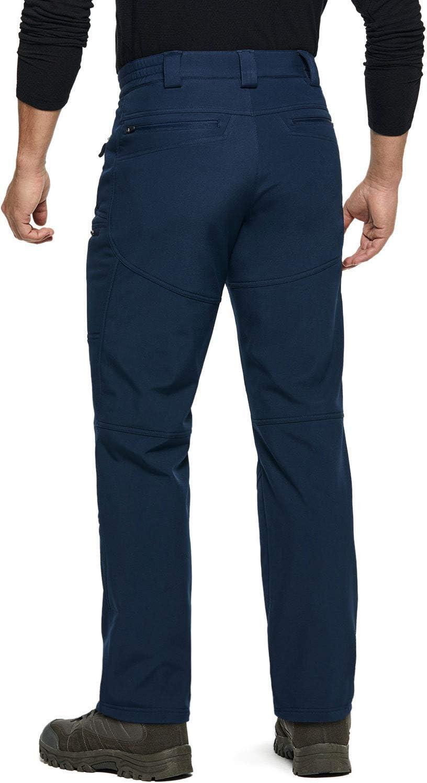 TSLA Mens Softshell Cargo Pants Hiking Water Repellent Snow Winter Fleece Lined Bottoms