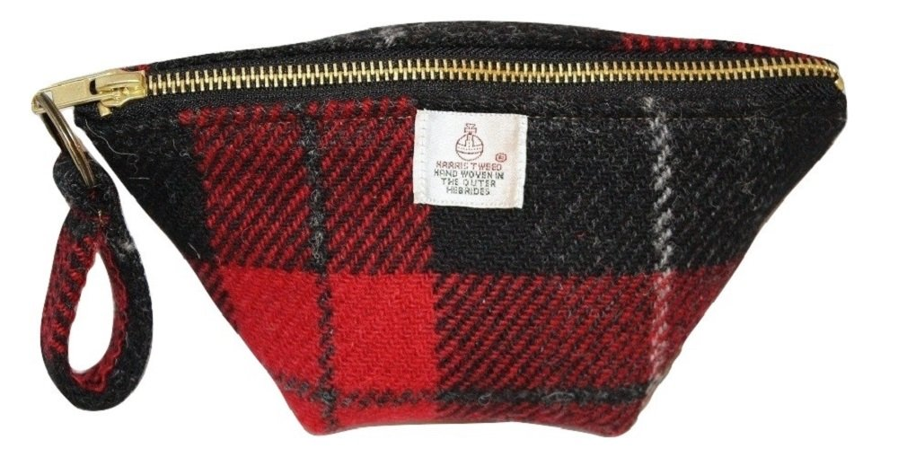 Harris Tweed ladies Big Mouth pouch - Monarch of the Glen Red plaid hand made in Scotland Harris Tweed Gifts