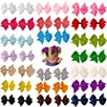Prohouse 40 Pcs(20 Pairs) Boutique Baby Girl Hair Clips Flower Grosgrain Ribbon Bows for Toddlers Teens Kids Little Girls Barrettes 20 Colors ...