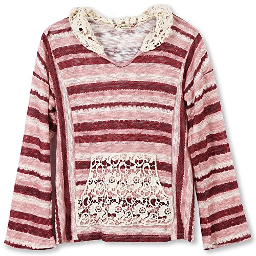 Speechless Big Girls' French Terry Hoodie with Crochet Detail, Burgundy/Pink, (Pink Terry Hoodie)