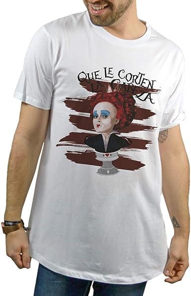 SUPERMOLON Camiseta Blanca Unisex Reina de Corazones Modelo Long: Amazon.es: Ropa y accesorios