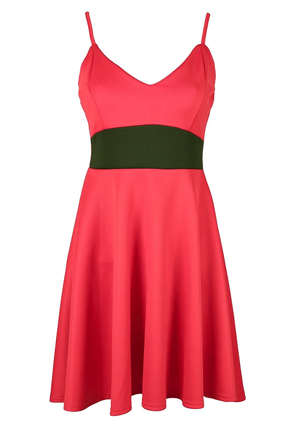 684410d478df8 Oops Outlet Womens Ladies Contrast Waist Panel Bandeau Bralet Strappy Swing  Flared Franki Sleeveless Mini Skater Dress Plus Size UK 8-26  Amazon.co.uk   ...