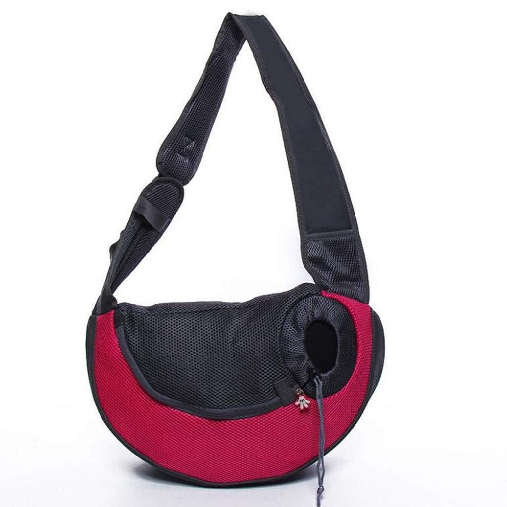 Red 382010cm Red 382010cm Pet Bag Teddy Dog Cat Cat Shoulder Bag Travel Out Bag Breathable Mesh Portable Slung Pet Backpack (color   Red, Size   38  20  10cm)