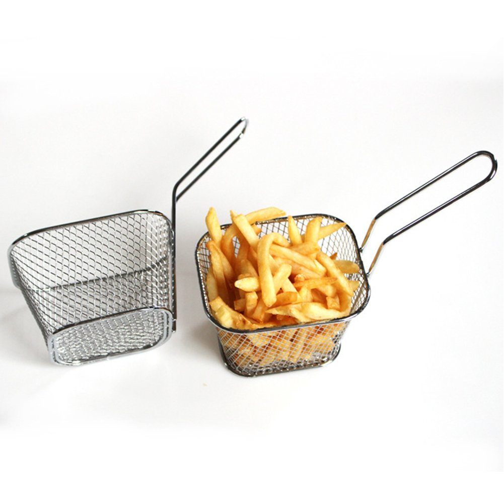 Meiyiu Frying Square Basket Strainer Plating Wire Mesh Fryer Tools for French Fries Fried Food