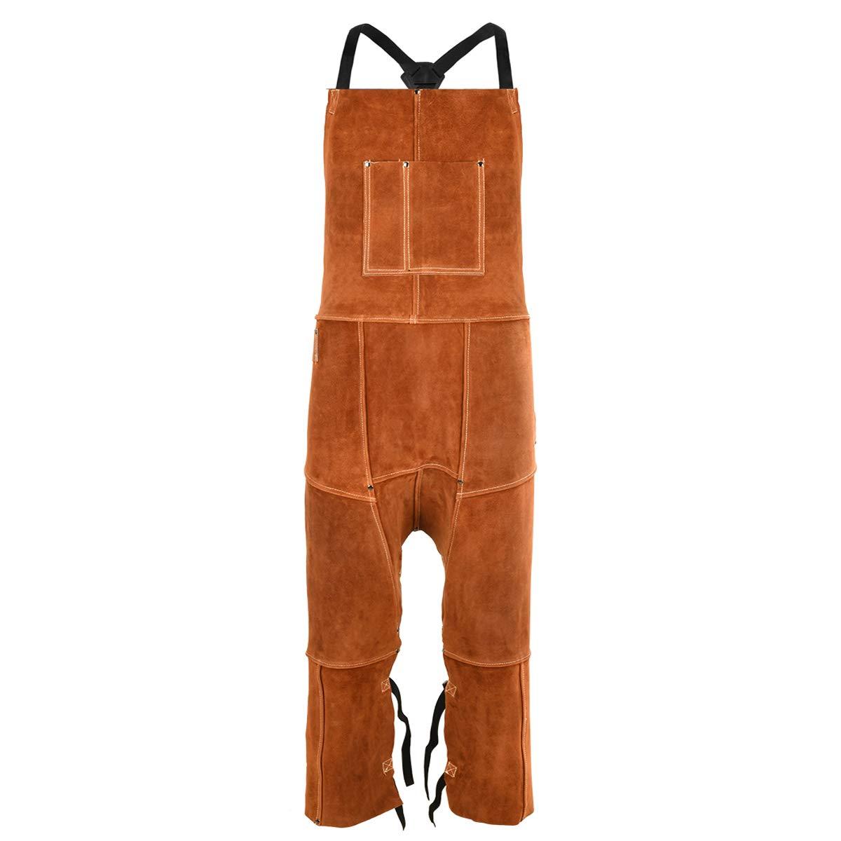 Leather Welding Apron Split Leg for Men - Spark   Flame   Heat Resistant Bib Apron by QeeLink - Heavy Duty Cowhide Leather - 24 x 42-inch, One Size Fit Most