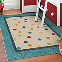Bright Geometric Border Polka Dots Patterned Area Rug, Pastel Geo Circles Themed, Rectangle Indoor Hallway Doorway Living Area Bedrooms Carpet, Bold Abstract Art Modern Design, Blue, Size 52 x 76
