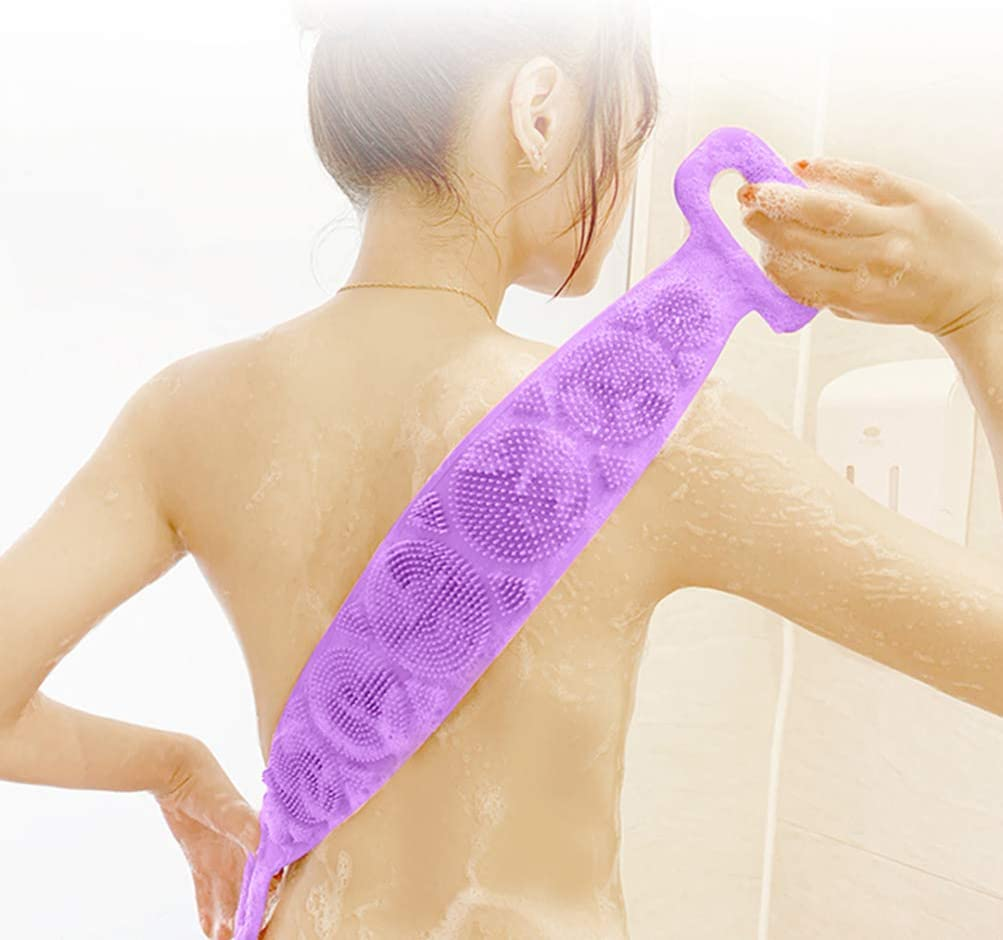 Blue TOPBATHY Silicone Body Scrubber Bath Exfoliating Massaging Towel Rubber Back Cleaning Shower Strap Wash Bar for Home Bathroom