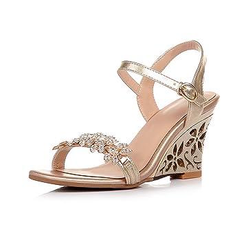 GAIHU Frauen Keile Ferse Kleid Damen Riemchen Sandalen Riemchen Braut Hochzeit Schuhe
