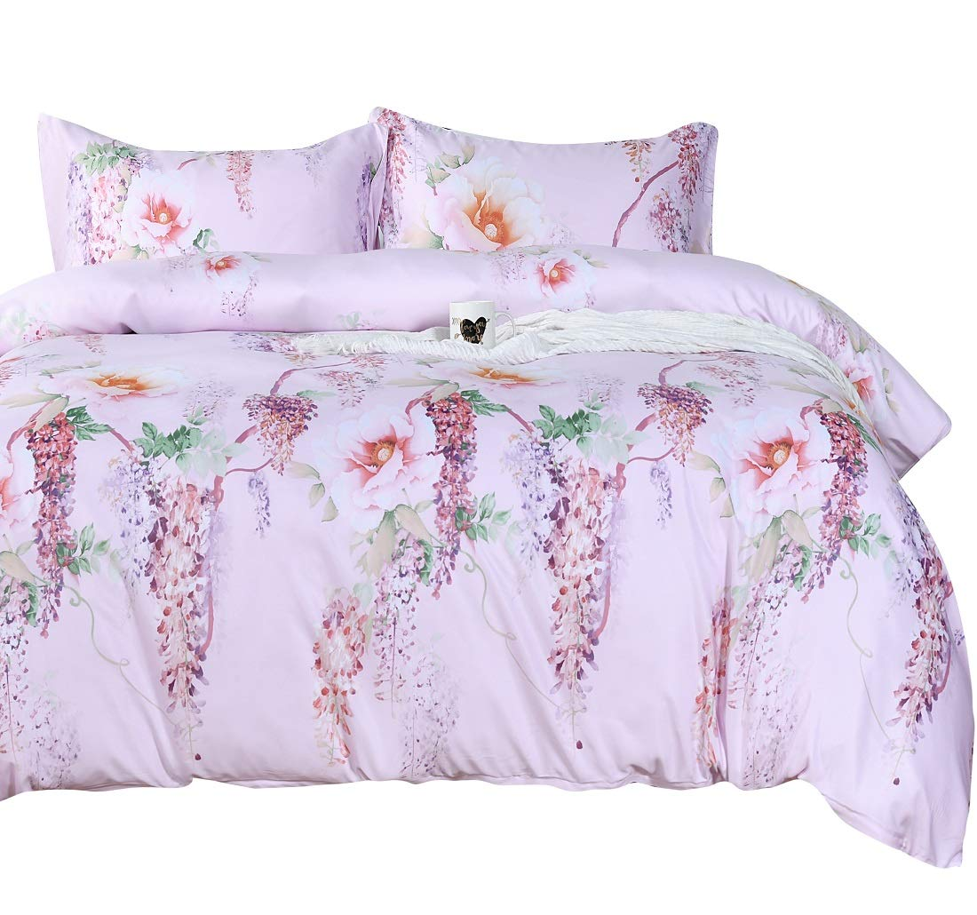 Queens House Quilt Cover Pink Tencel Duvet Cover Set Imitated Silk Fabric Pillowcases and Duvet Cover-King,B