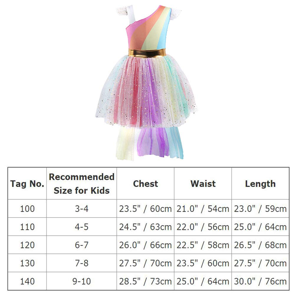 79b49e40c3136 Girls Unicorn Dress up Costume Rainbow Sequins Tulle Ruffle Skirt Birthday  Dresses Tutu Outfit Kids Princess Dressing Gown for Halloween Fancy Party  ...