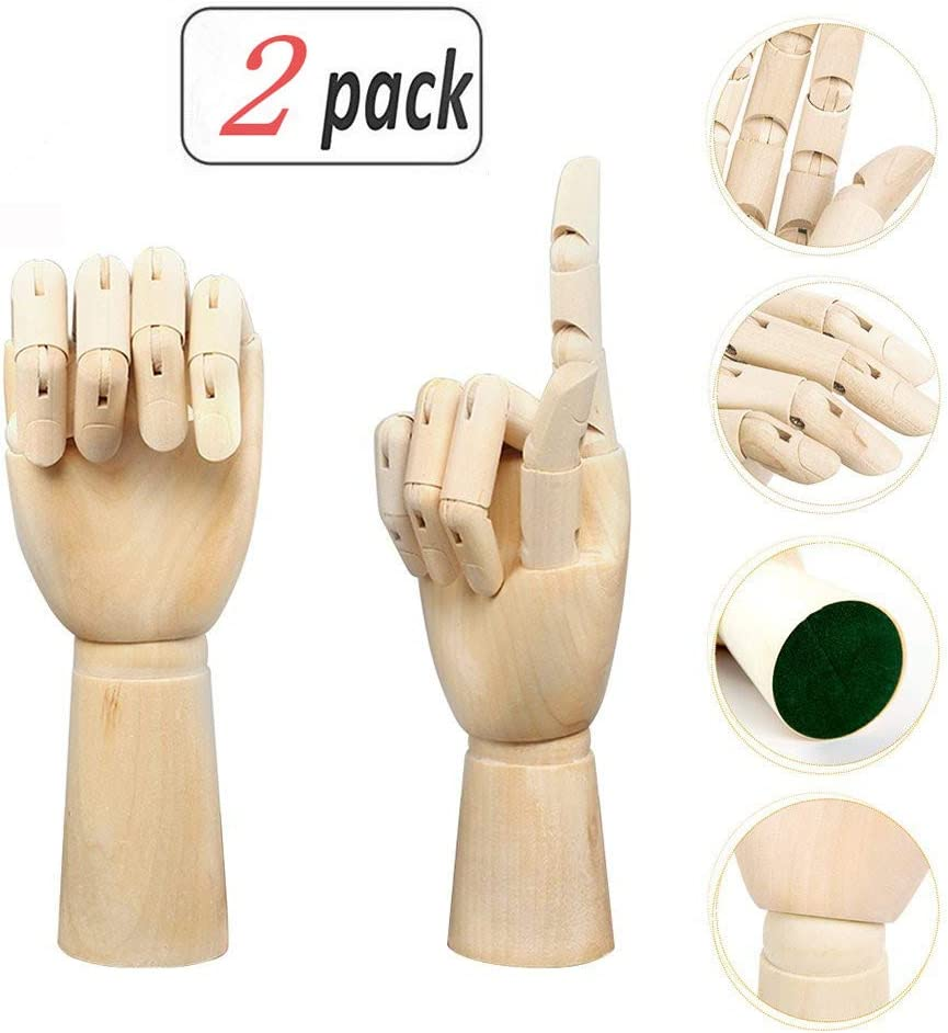 Alikeke Wooden Hand Model Flexible Moveable Fingers Manikin Hand Figure Both Left and Right Hand for Sketching Drawing Home Office Desk Posable Joints Kids Children Toys Gift 10 INCH