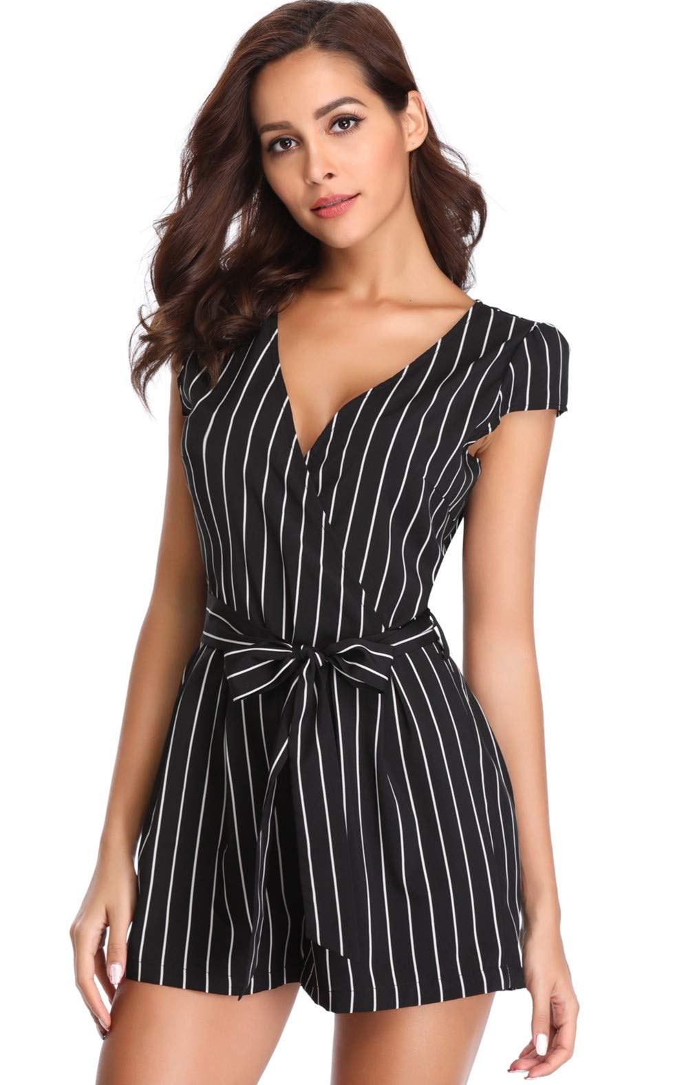 Rompers for Women Vertical Striped V Neck Cap Sleeve Short Jumpsuits with Belt