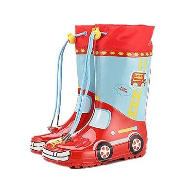 Jungen Mädchen Kinder Cartoon Regen Gummistiefel Wasserdicht Kinderschuh Schuhe (33 EU, Rosa)